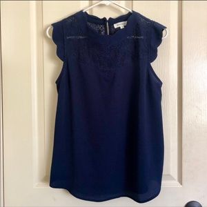 MONTEAU Navy Blue Scallop Lace Tank Blouse